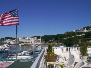 Our sundeck, overlooking the harbor and fort